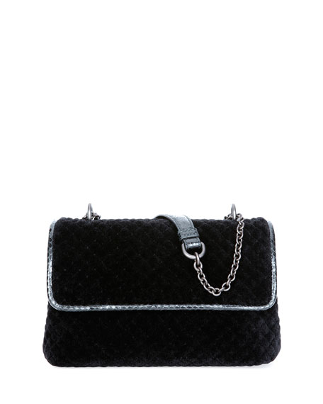 Olimpia Intrecciato Quilted Velvet Shoulder Bag, Black