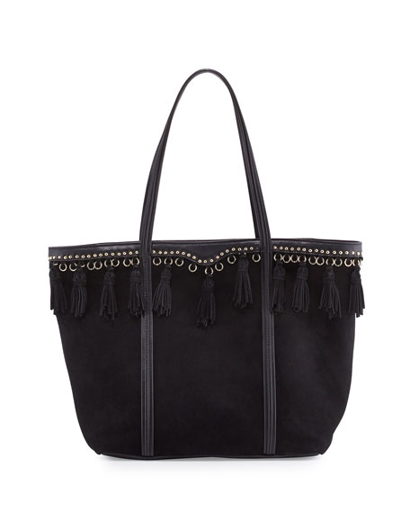 Rebecca Minkoff Multi-Tassel Suede Tote Bag, Black