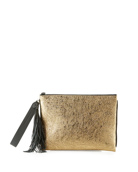 Metallic Leather Tassel Pouch Bag, Brown/Gold