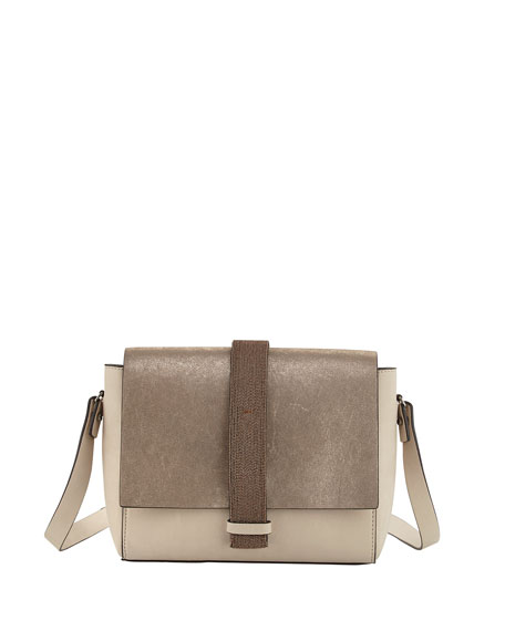 Medium Tricolor Flap Shoulder Bag, Medium Beige