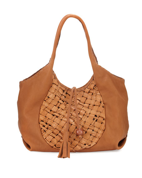 Henry Beguelin Canotta Medium Woven Hobo Bag, Beige
