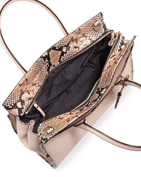 cameron street candace snakeskin satchel bag, toasted wheat