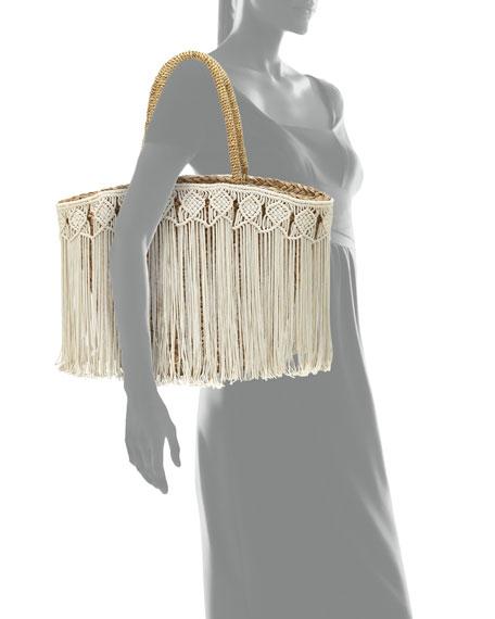 Flora Bella Fes Macrame Fringe Beach Tote Bag, Ivory