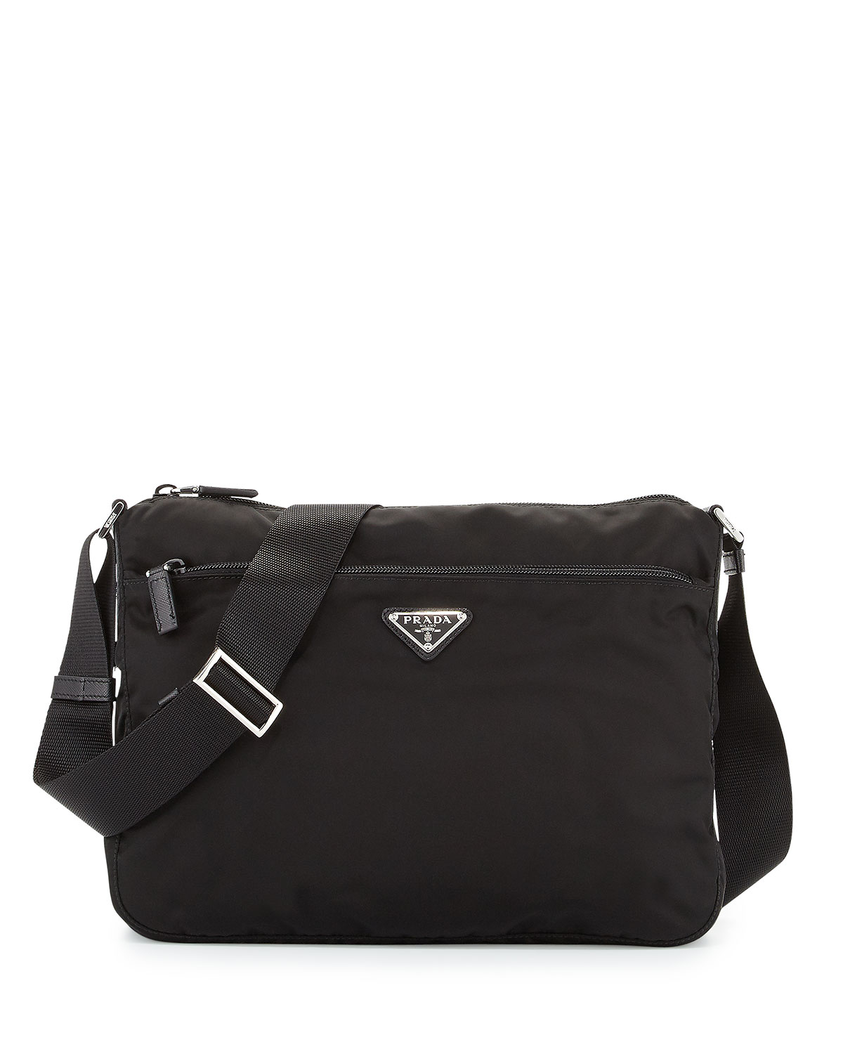 Large Nylon Crossbody Bag Black Nero
