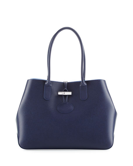 Longchamp Roseau Reversible Leather Shoulder Tote Bag
