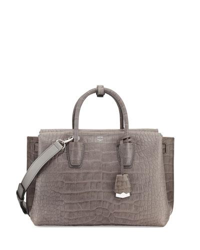 Milla Medium Crocodile-Embossed Tote Bag, Gray