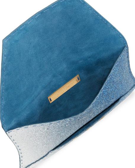 Manila Ombre Glitter Clutch Bag, Blue/Silver