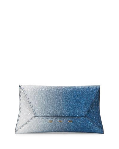 Manila Ombre Glitter Clutch Bag  Blue/Silver