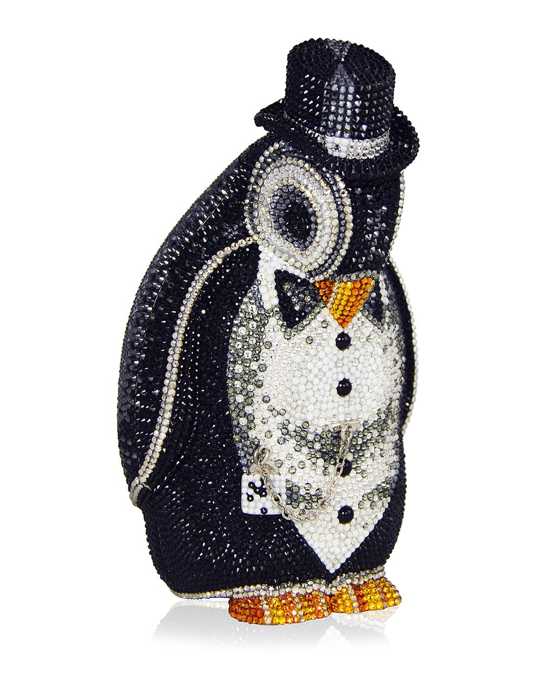 Alfred Penguin Evening Clutch Bag Black Silver