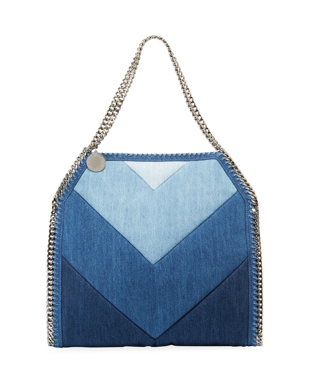 451f374354 Stella McCartney Falabella Chevron Eco-Denim Small Tote Bag