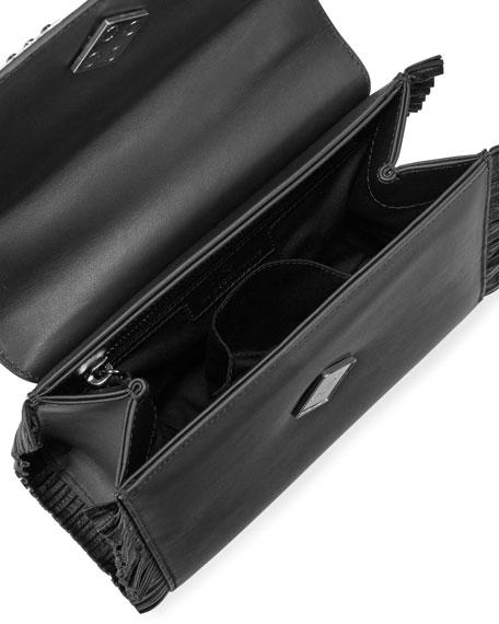Mini Alex Eyes Fringe Shoulder Bag, Black/White