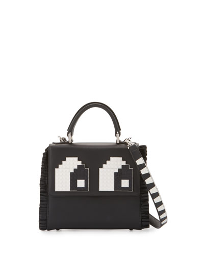 Mini Alex Eyes Fringe Shoulder Bag, Black/White