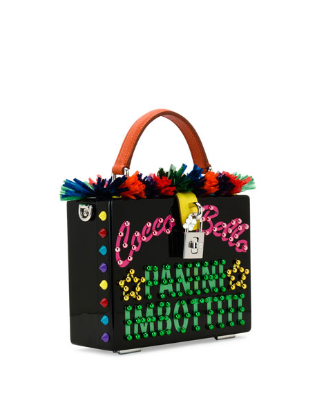 St. Dauphine Cocco Bella Box Top-Handle Bag, Black/Multi