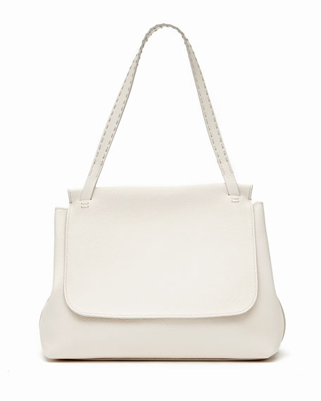 THE ROW Sidekick Fine-Grain Leather Shoulder Bag, Pearl