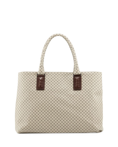 Bottega Veneta Medium Intrecciato-Trim Stamped Rubber Tote Bag