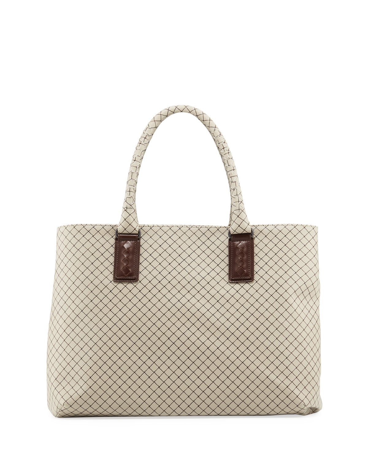 c42aa586f383 Bottega Veneta Medium Intrecciato-Trim Stamped Rubber Tote Bag ...