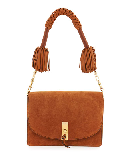 Ghianda Suede Shoulder Bag, Teak