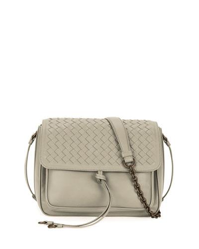 Medium Intrecciato Flap Tie-Front Shoulder Bag