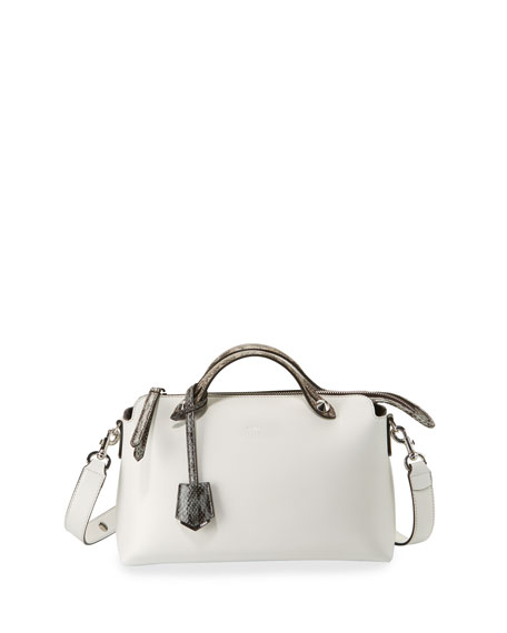 FENDI 'Medium By The Way' Calfskin Leather Shoulder Bag With Genuine Snakeskin Trim - White, Ice