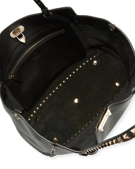 Rockstud Grained Leather Medium Tote Bag