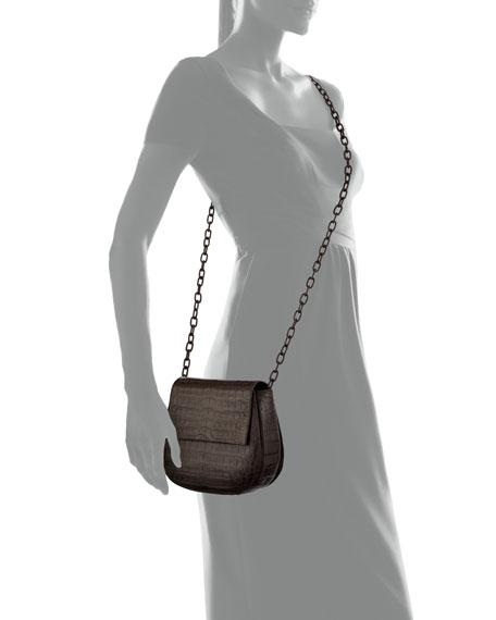 Nancy Gonzalez Crocodile Chain-Strap Saddle Bag