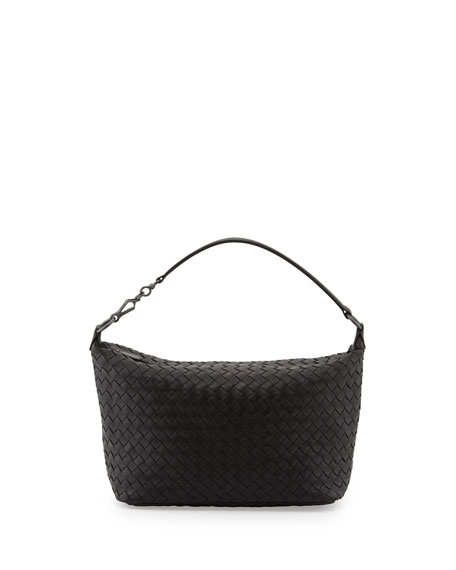Small East West Zip Hobo Bag Black