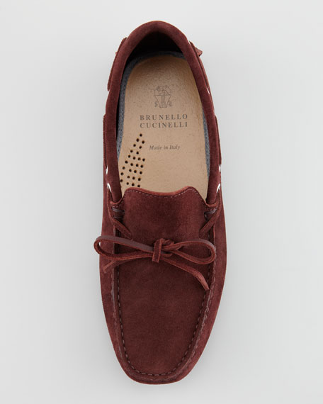 Suede Moccasin Driver, Burgundy