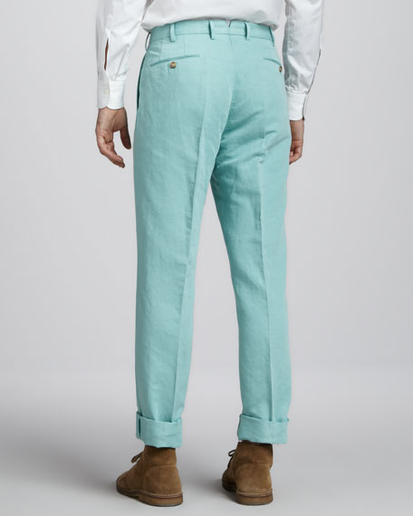 Chinolino Linen-Cotton Pants, Seafoam Green
