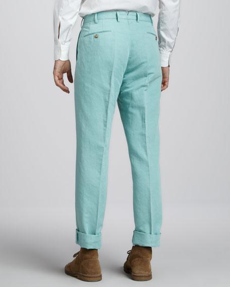 Chinolino Linen-Cotton Pants, Seafoam Green