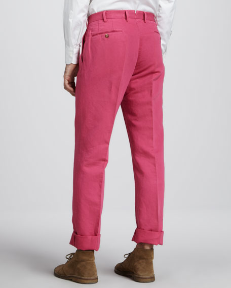 Chinolino Linen-Cotton Pants, Fuchsia