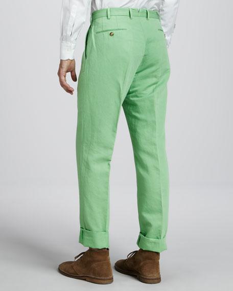 Chinolino Linen-Cotton Pants, Bright Green