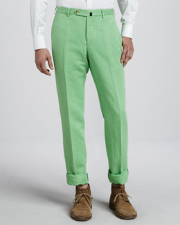 Incotex Chinolino Linen-Cotton Pants, Bright Green