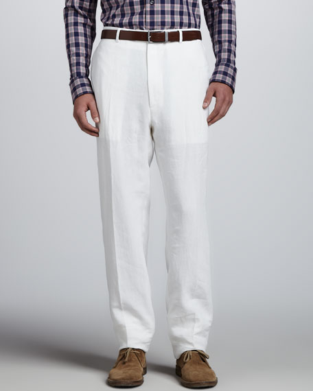 Flat-Front Linen Trousers, White