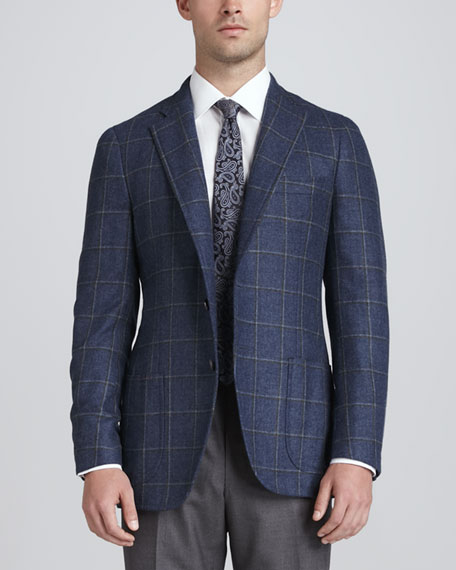 Windowpane Cashmere/Silk Blazer, Blue/Olive