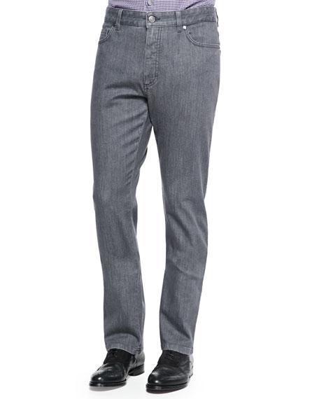 Stretch Denim Jeans, Dark Gray