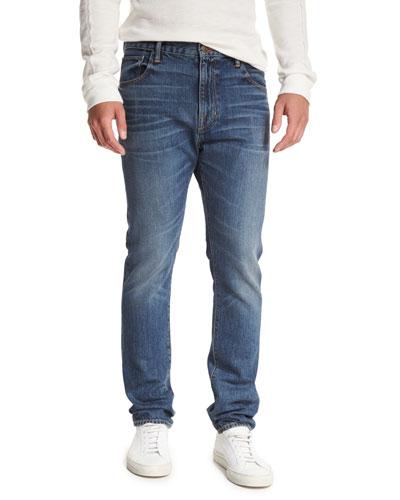 Drop-Rise Denim Jeans, Blue