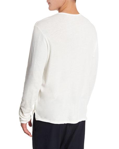 Raw-Edge Henley T-Shirt, White