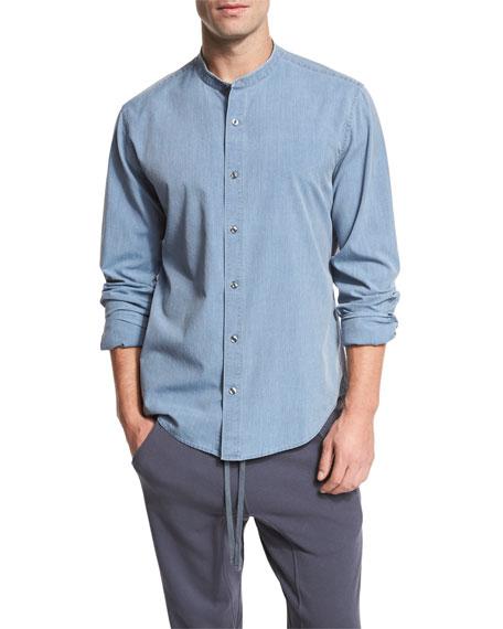 Raw Stand-Collar Chambray Shirt, Blue