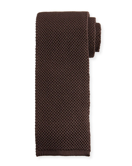 Solid Knit Tie, Gray