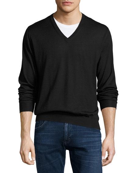 Cashmere-Silk V-Neck Sweater