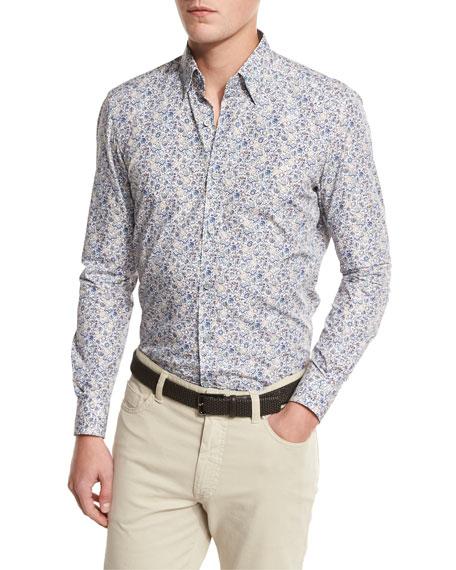 Ermenegildo Zegna Floral-Print Sport Shirt, Medium Beige/Blue