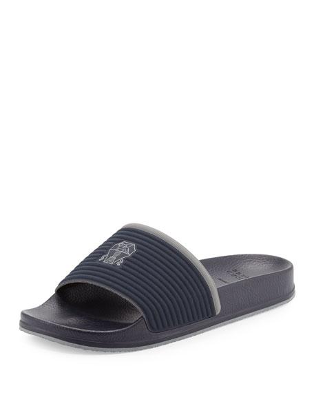 Brunello Cucinelli Fabric Slide Sandal w/Solomeo Crest, Blue
