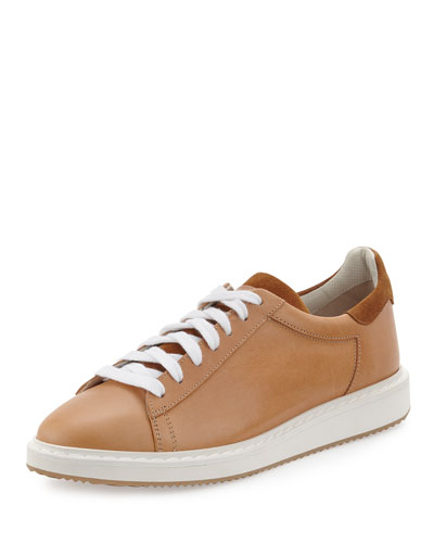 Men's Leather Sneakers, Beige