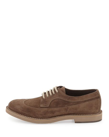 Suede Wing-Tip Oxford, Brown