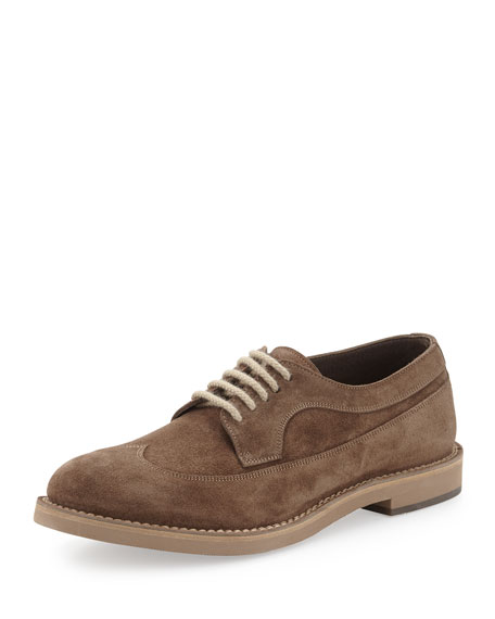 Brunello Cucinelli Suede Wing-Tip Oxford, Brown