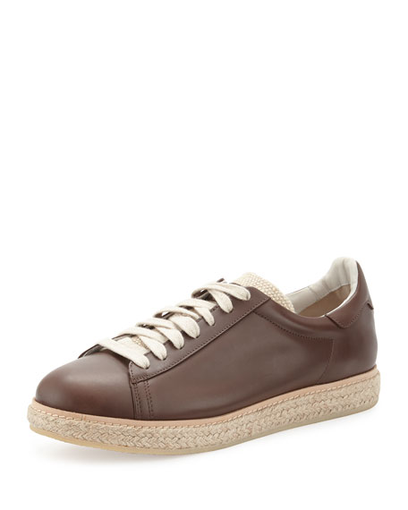 Brunello Cucinelli Men's Leather Sneaker Espadrille, Brown