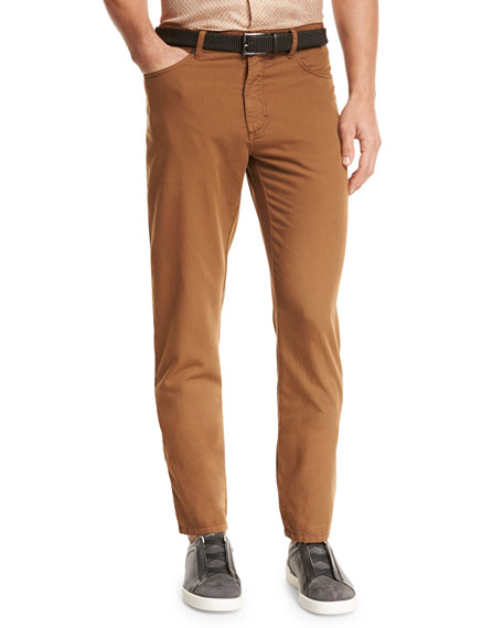 Ermenegildo Zegna Five-Pocket Straight-Leg Pants, Cognac