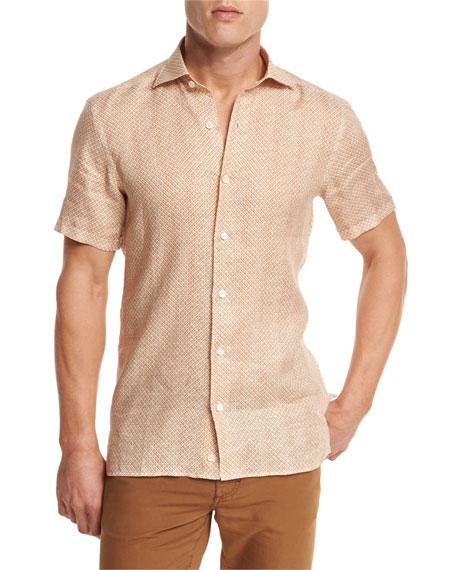 Geo-Print Short-Sleeve Sport Shirt, Orange
