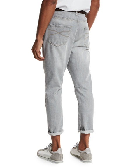 Relaxed-Fit Washed-Denim Jeans, Light Gray