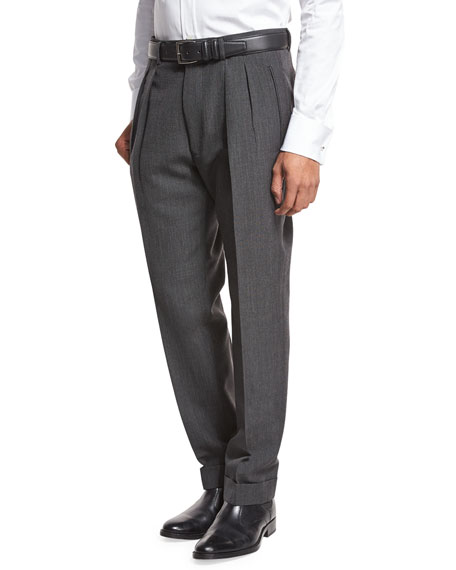 TOM FORD Double-Pleated Trousers, Gray